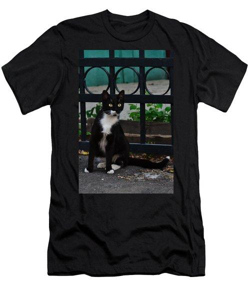 Black Cat On Black Background Men's T-Shirt (Athletic Fit)