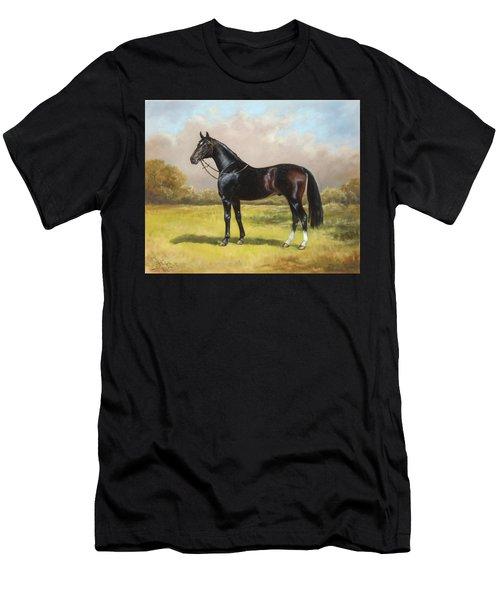 Black English Horse Men's T-Shirt (Athletic Fit)
