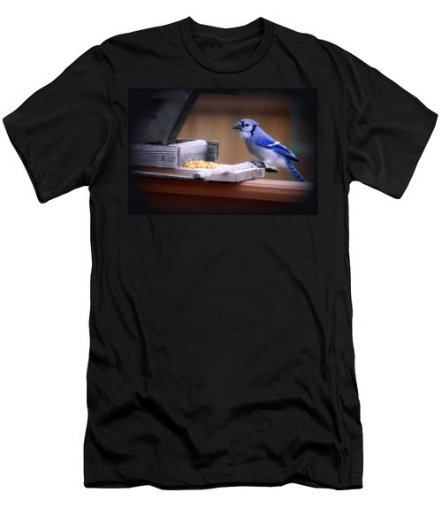 Men's T-Shirt (Slim Fit) featuring the photograph Blue Jay On Backyard Feeder by Kay Novy