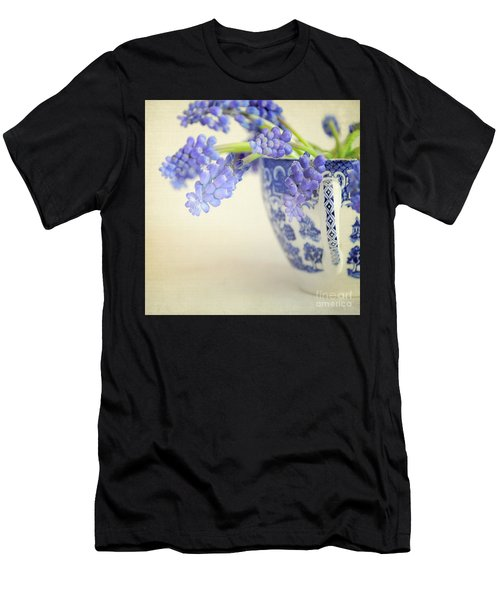 Blue Muscari Flowers In Blue And White China Cup Men's T-Shirt (Athletic Fit)