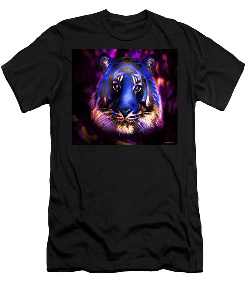 Men's T-Shirt (Slim Fit) featuring the photograph Blue Tiger Of The Purple Forest by George Pedro