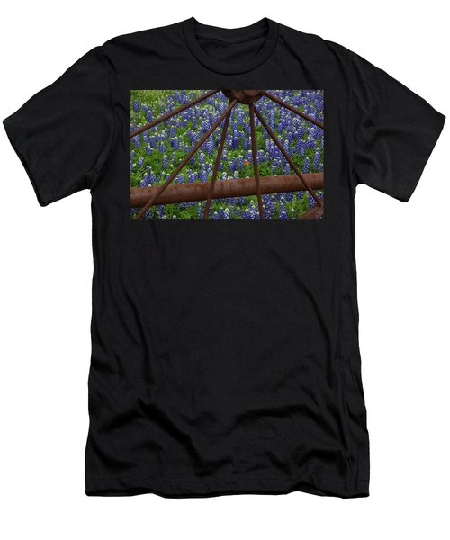 Bluebonnets And Rusted Iron Wheel Men's T-Shirt (Athletic Fit)