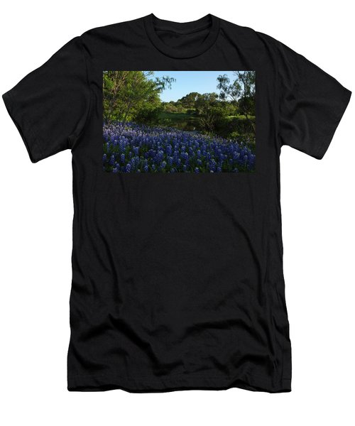 Men's T-Shirt (Slim Fit) featuring the photograph Bluebonnets At The Pond by Susan Rovira