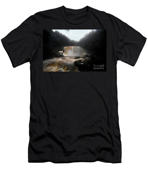 Men's T-Shirt (Slim Fit) featuring the photograph Bull Elk In Front Of Waterfall by Dan Friend