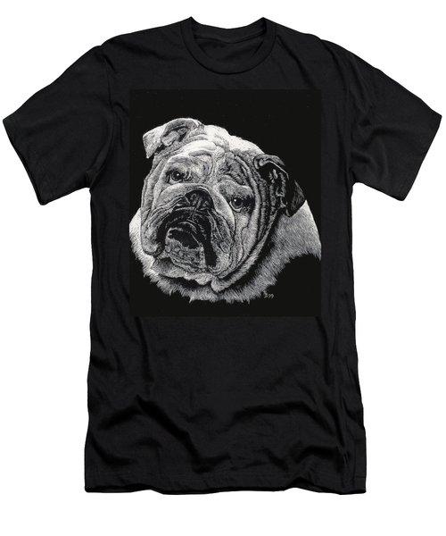 Men's T-Shirt (Slim Fit) featuring the drawing Bulldog by Rachel Hames