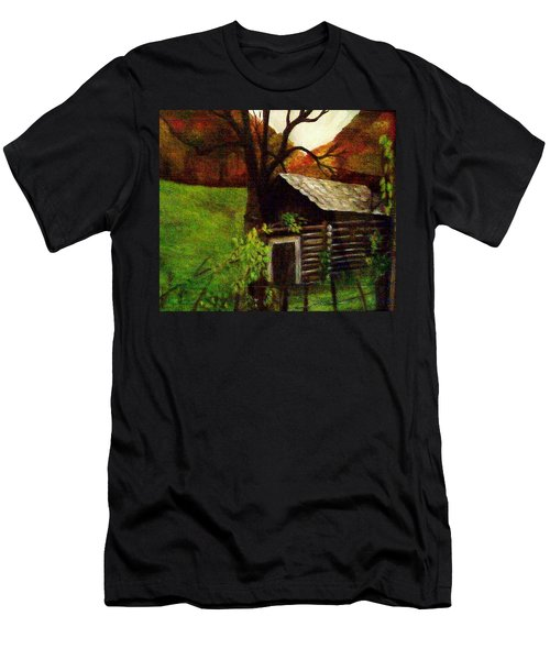 Cabin By A Hillside Men's T-Shirt (Slim Fit) by Christy Saunders Church