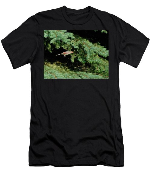 Men's T-Shirt (Slim Fit) featuring the photograph Cardinal Just A Hop Away by Thomas Woolworth