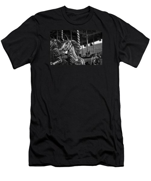 Men's T-Shirt (Slim Fit) featuring the photograph Carousel Horses Mono by Steve Purnell