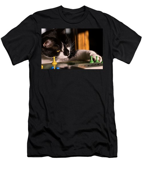 Cat Playing A Game Men's T-Shirt (Athletic Fit)