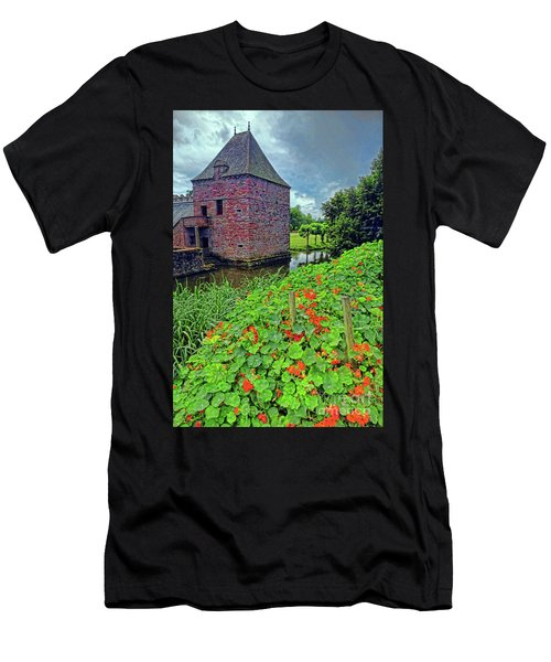 Men's T-Shirt (Slim Fit) featuring the photograph Chateau Tower And Nasturtiums by Dave Mills