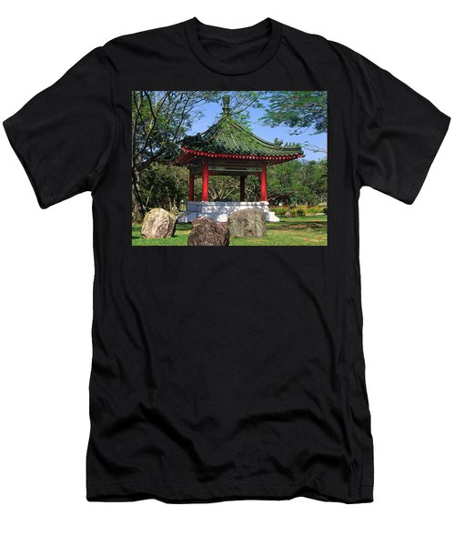 Men's T-Shirt (Slim Fit) featuring the photograph Chinese Gardens Garden Pavilion 21b by Gerry Gantt
