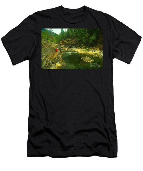 Cliff Over The Yak River Men's T-Shirt (Slim Fit) by Jeff Swan