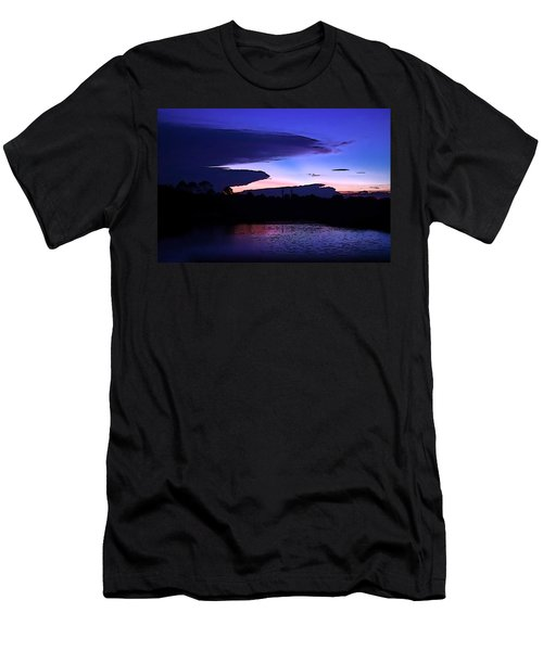 Men's T-Shirt (Slim Fit) featuring the photograph Clouded Sunset Over The Tomoka by DigiArt Diaries by Vicky B Fuller