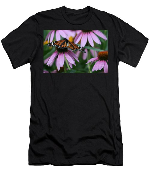 Men's T-Shirt (Slim Fit) featuring the photograph Cone Flowers And Monarch Butterfly by Kay Novy