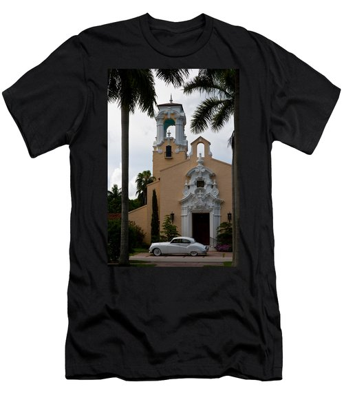 Men's T-Shirt (Slim Fit) featuring the photograph Congregational Church Front Door by Ed Gleichman