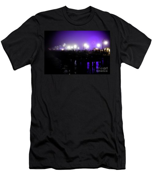 Men's T-Shirt (Slim Fit) featuring the photograph Cool Night At Santa Monica Pier by Clayton Bruster