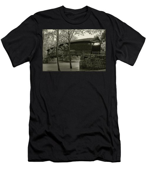 Men's T-Shirt (Slim Fit) featuring the photograph Covered Bridge by Mary Almond