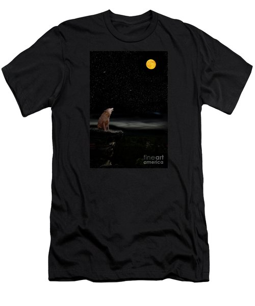 Men's T-Shirt (Slim Fit) featuring the photograph Coyote Howling At Moon by Dan Friend