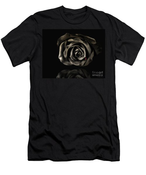 Crying Black Rose Men's T-Shirt (Slim Fit) by Danuta Bennett
