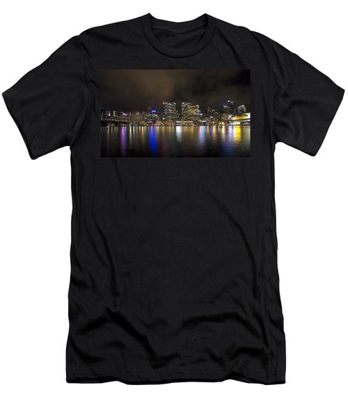 Darling Harbor Sydney Skyline Men's T-Shirt (Slim Fit) by Douglas Barnard