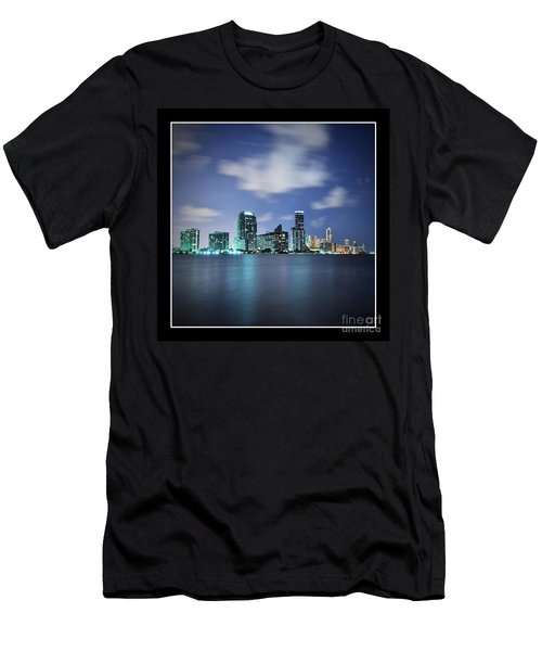 Men's T-Shirt (Slim Fit) featuring the photograph Downtown Miami At Night by Carsten Reisinger