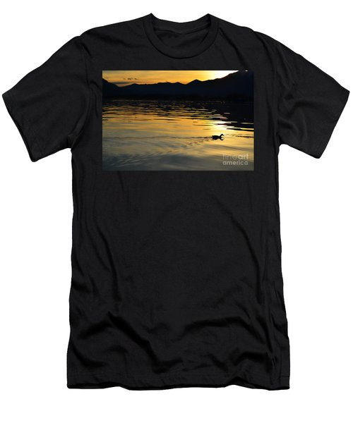 Duck Swimming Men's T-Shirt (Athletic Fit)