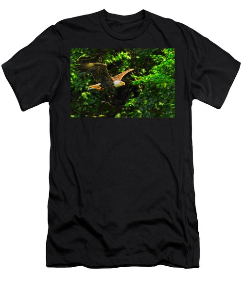 Men's T-Shirt (Slim Fit) featuring the photograph Eagle Taking Lunch To Her Babies by Randall Branham
