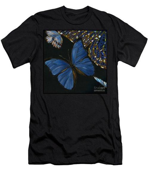 Men's T-Shirt (Slim Fit) featuring the painting Elena Yakubovich - Butterfly 2x2 Lower Left Corner by Elena Yakubovich