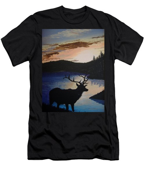 Men's T-Shirt (Slim Fit) featuring the painting Elk At Sunset by Norm Starks