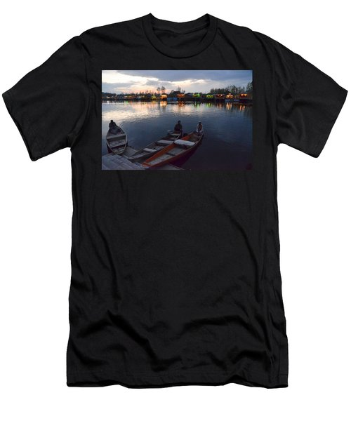 Evening On Dal Lake Men's T-Shirt (Slim Fit) by Fotosas Photography