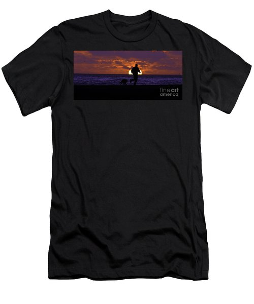 Men's T-Shirt (Slim Fit) featuring the photograph Evening Run On The Beach by Clayton Bruster