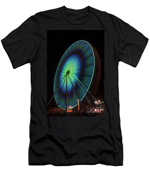 Ferris Wheel Lit Shades Of Green And Blue Men's T-Shirt (Athletic Fit)