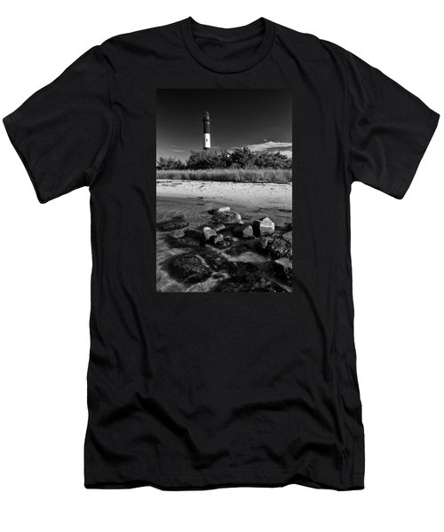 Fire Island In Black And White Men's T-Shirt (Athletic Fit)