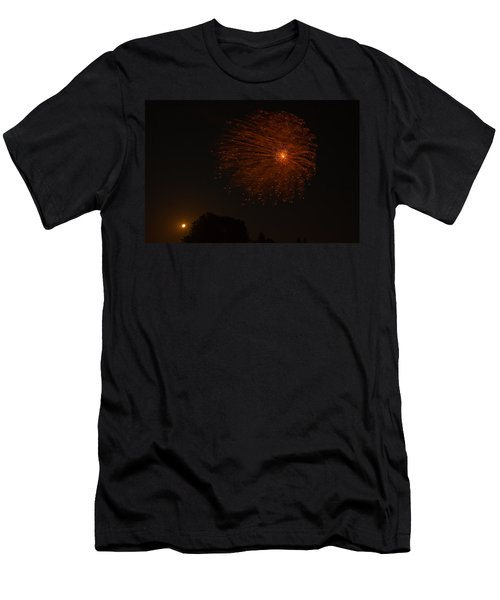 Men's T-Shirt (Slim Fit) featuring the photograph Fireworks And Wildfire Moon by Tom Gort