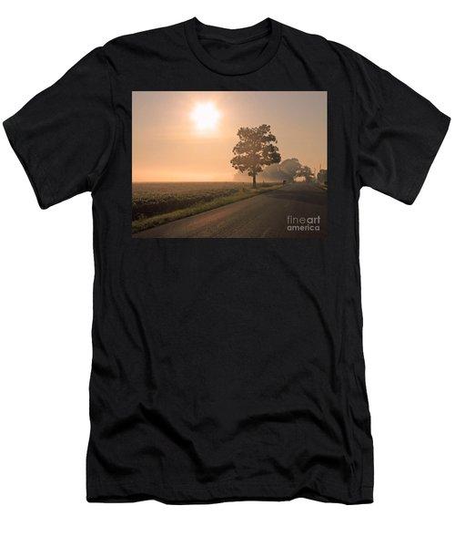 Foggy Sunrise On Soybean Field Men's T-Shirt (Athletic Fit)