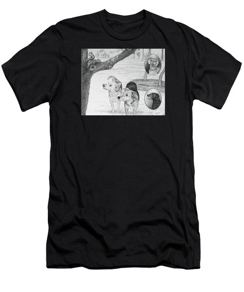 Four Dogs And A Squirrel Men's T-Shirt (Athletic Fit)