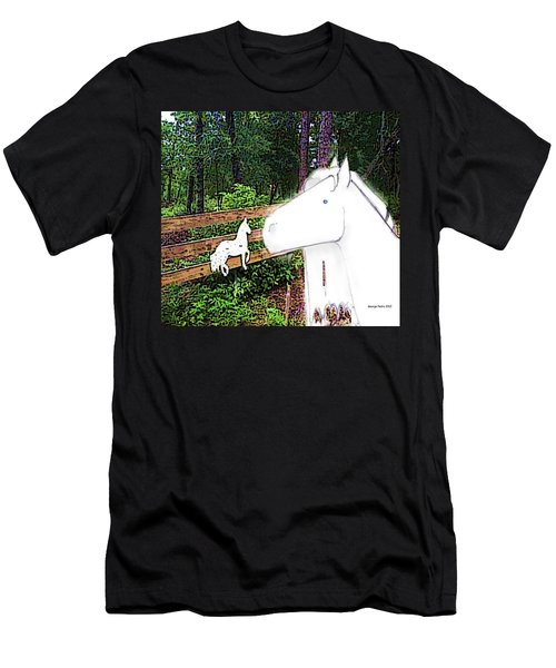 Men's T-Shirt (Slim Fit) featuring the drawing Ghost Horse by George Pedro