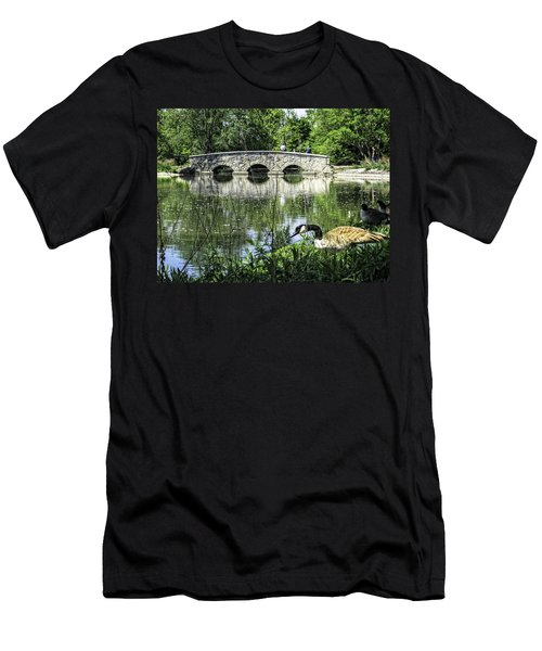 Men's T-Shirt (Slim Fit) featuring the photograph Goose And Bridge At Silver Lake by Tom Gort