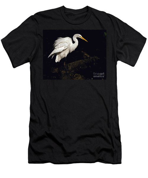 Men's T-Shirt (Slim Fit) featuring the photograph Great Egret Ruffles His Feathers by Art Whitton