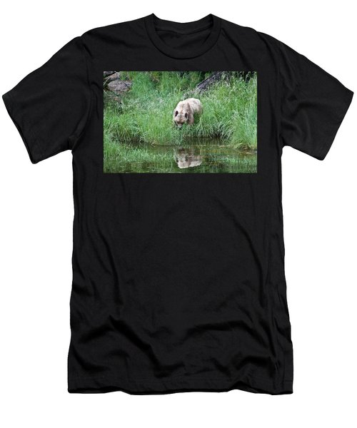 Grizzly Bear And Reflection On Prince Rupert Island Canada 2209 Men's T-Shirt (Athletic Fit)