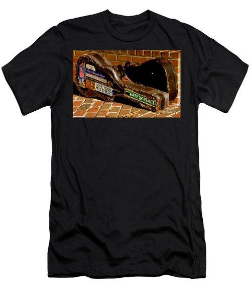 Guitar Case Messages Men's T-Shirt (Slim Fit) by Lainie Wrightson