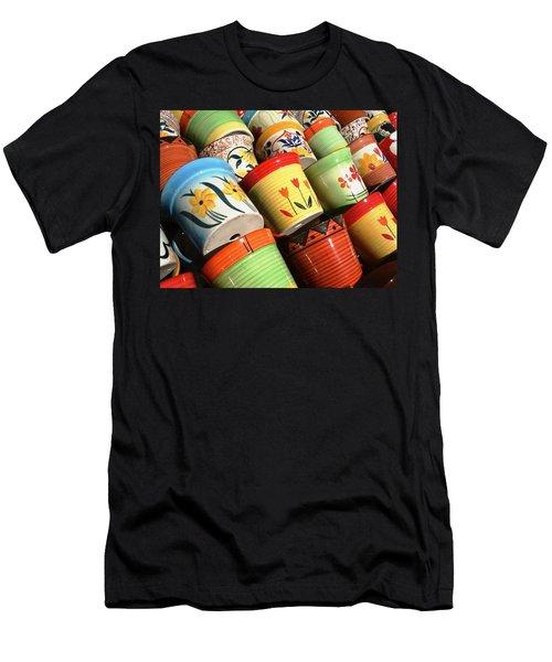 Hand Decorated Flower Pots Men's T-Shirt (Athletic Fit)