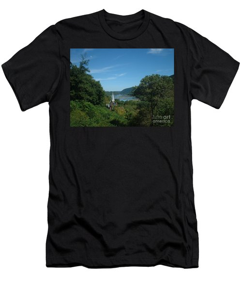 Men's T-Shirt (Slim Fit) featuring the painting Harper's Ferry Long View by Mark Robbins