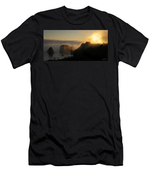 Harris Beach Sunset Panorama Men's T-Shirt (Slim Fit) by Mick Anderson
