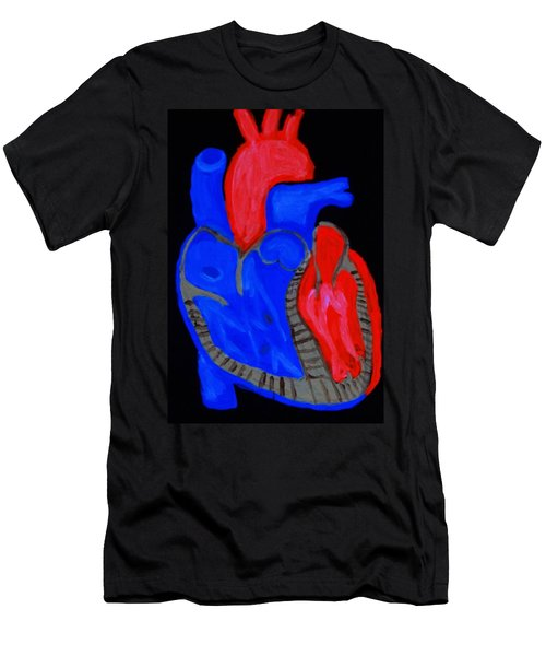 Men's T-Shirt (Slim Fit) featuring the painting Heart A Glow by Lisa Brandel