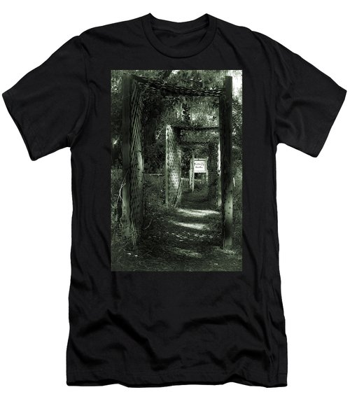 Men's T-Shirt (Slim Fit) featuring the photograph Into The Butterfly Garden Green by DigiArt Diaries by Vicky B Fuller