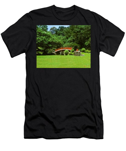 Men's T-Shirt (Slim Fit) featuring the photograph Japanese Garden Bridge 21m by Gerry Gantt