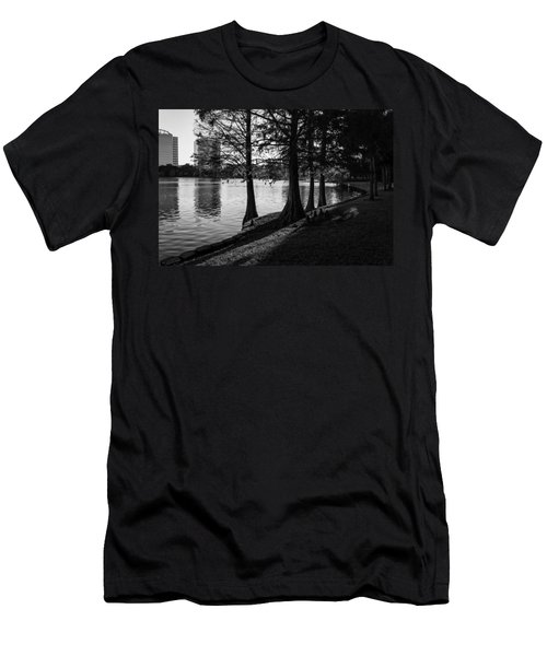 Men's T-Shirt (Slim Fit) featuring the photograph Lake Eola Water Edge by Lynn Palmer