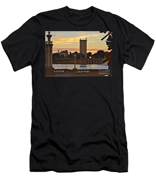 Men's T-Shirt (Slim Fit) featuring the photograph Lake Mirror Sunset by Carol  Bradley