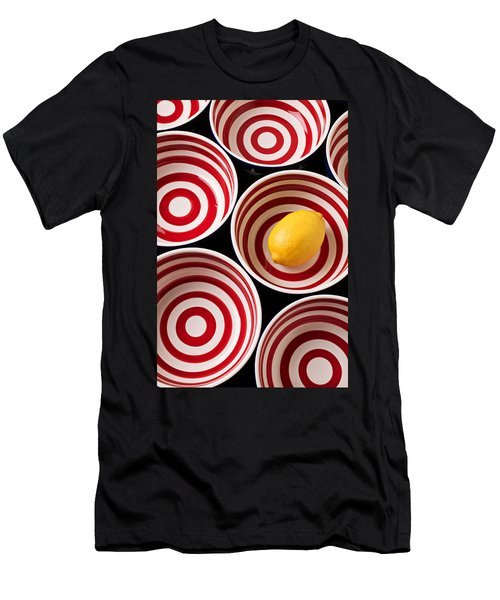 Lemon In Red And White Bowl  Men's T-Shirt (Athletic Fit)